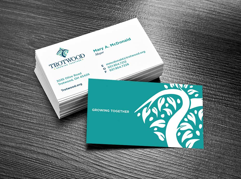 trot wood business cards