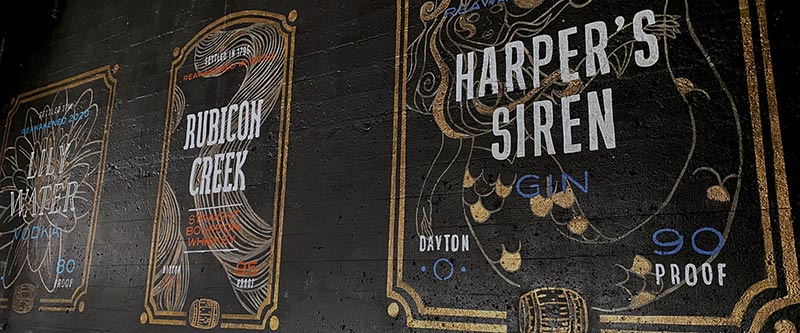 Graphic design adopted into a mural at Dayton Barrel Works