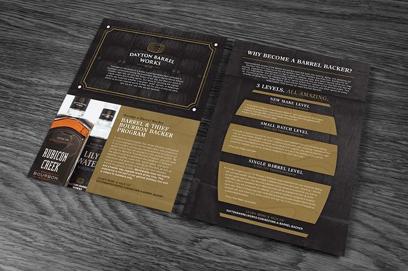 product sheet graphic design for Dayton Barrel Works