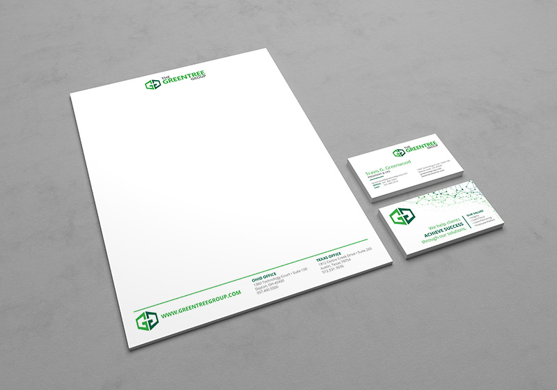 Greentree Group letterhead and business card design